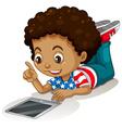 American boy using computer tablet vector image