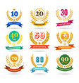 anniversary numbers design collection vector image vector image