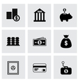 black bank icons set vector image