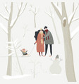 cartoon happy family walking in winter forest vector image