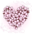 Cherry blossom in the shape of heart vector image vector image