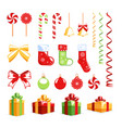 christmas elements set isolated on a white vector image vector image