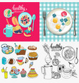 collection breakfast granola bowl fried egg and vector image vector image