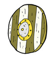 comic cartoon wooden shield vector image vector image