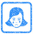 crying woman face framed stamp vector image