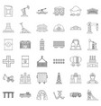 factory icons set outline style vector image vector image