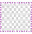 frame of pink animal paw prints on transparent vector image