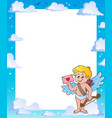 frame with cupid holding envelope vector image vector image