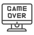 game over text on screen line icon end of a game vector image