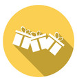 gift icon flat design style with long shadow vector image vector image