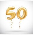 golden number 50 fifty metallic balloon party vector image vector image