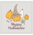 Hand drawn halloween greeting card with pumpkins vector image
