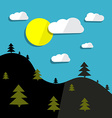 Hills Landscape and Sun with Trees vector image vector image