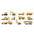 industrial vehicles cartoon construction trucks vector image