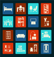 interior icon set-flat furniture icons vector image vector image