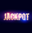 jackpot shining gold banner with light bulbs and vector image