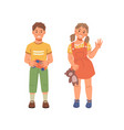 kindergarten friend cartoon boy and girl with toys vector image vector image