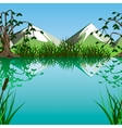 lake on a background of mountains vector image