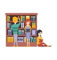 Library Or Bookstore With People Choosing And vector image vector image