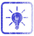 light bulb framed textured icon vector image vector image
