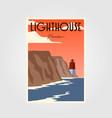 lighthouse poster vintage minimalist design vector image vector image