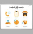 logistic elements flat pack vector image
