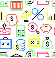 pattern of multi colored linear financial icons vector image vector image