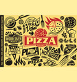 pizza symbols logos signs icons emblems vector image