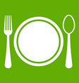 place setting with platespoon and fork icon green vector image vector image