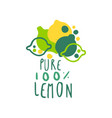 pure 100 percent lemon original design logo vector image vector image