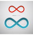 Red and Blue Paper Infinity Symbols vector image vector image