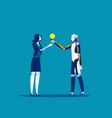 robot help businesswoman make solution concept vector image