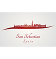 San Sebastian skyline in red vector image vector image