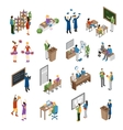School College University Isometric Set vector image