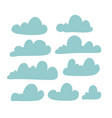 set cloud silhouette in flat simple style vector image