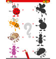 shadow game with cute insects characters vector image vector image