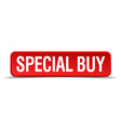 Special buy red 3d square button isolated on white vector image vector image