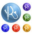 stethoscope icons set vector image