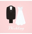 Suit beside wedding dress on pink background vector image