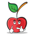 thinking face cherry character cartoon style vector image vector image