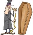 undertaker with coffin cartoon vector image vector image