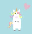 unicorn holding heart baloon kawaii face pastel vector image vector image