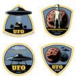 Vintage colored ufo emblems set