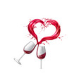 wine glasses toasting heart shape splash vector image