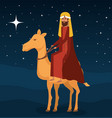 wise man in camel manger characters vector image vector image