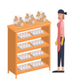 woman with shelf of egg isolated icon vector image