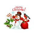 merry christmas snowman gifts icon vector image