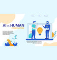 ai vs human cooperation floraf landing page vector image