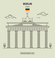 brandenburg gate in berlin vector image vector image