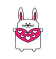 bunny in the contour of the heart vector image